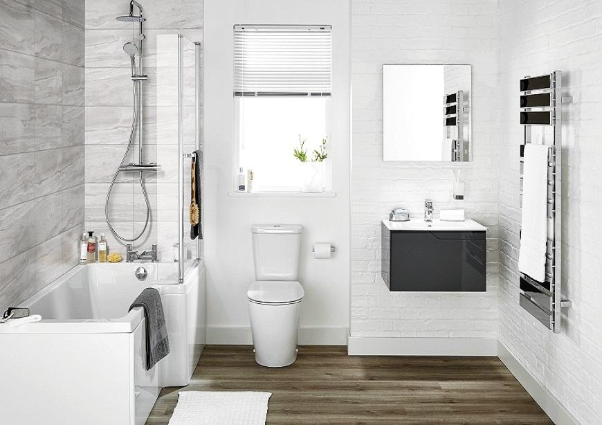 Phòng tắm đẹp hiện đại với tông màu sắc sáng